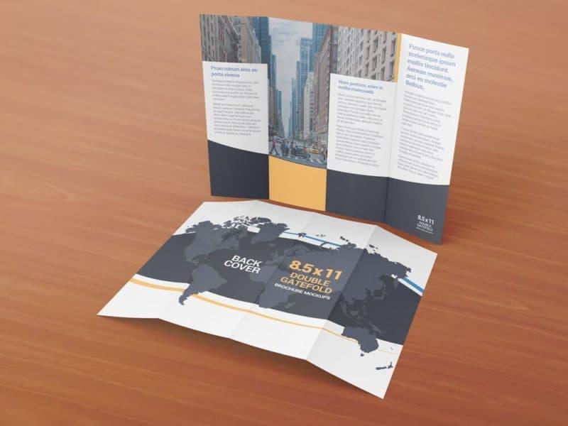8.5 x 11 Double Gate Fold Brochure Mockups