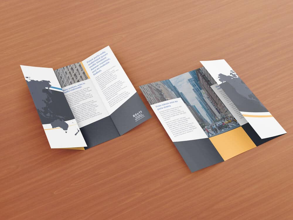 8 5 x 11 double gate fold brochure mockups vectogravic for Double gate fold brochure template