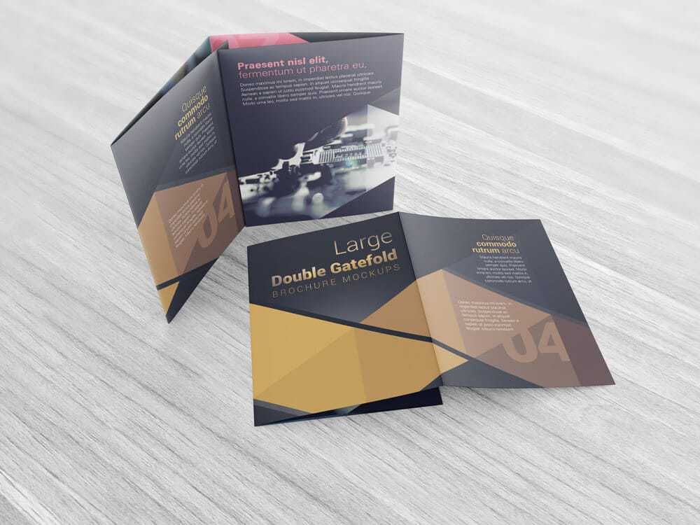 Large double gate fold brochure mockups vectogravic design for Double gate fold brochure template