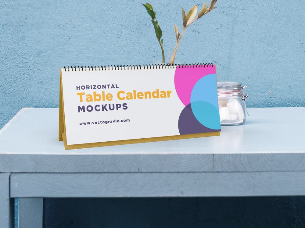 Horizontal Table Calendar Mockups