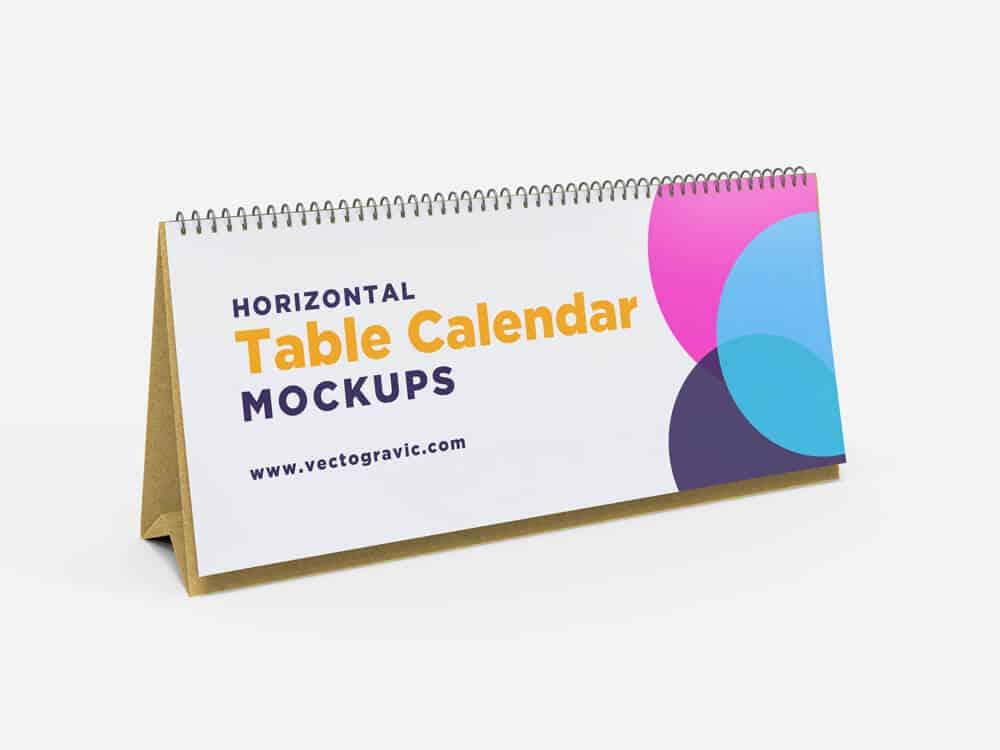 Horizontal Table Calendar Mockups
