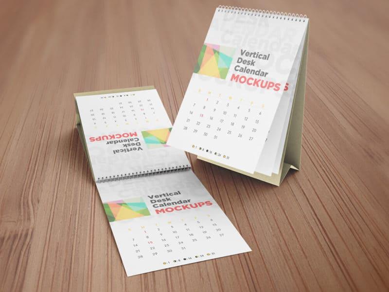 Realistic Vertical Desk Calendar Mockups