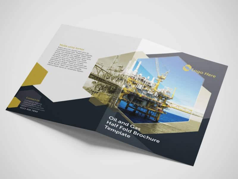 Half Fold Oil And Gas Brochure Template On Vectogravic Design