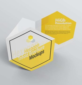 Hexagon Trifold Brochure Mockups
