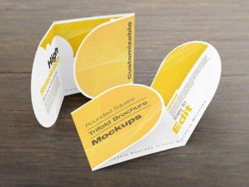 Rounded Square Tri-Fold Brochure Mockups