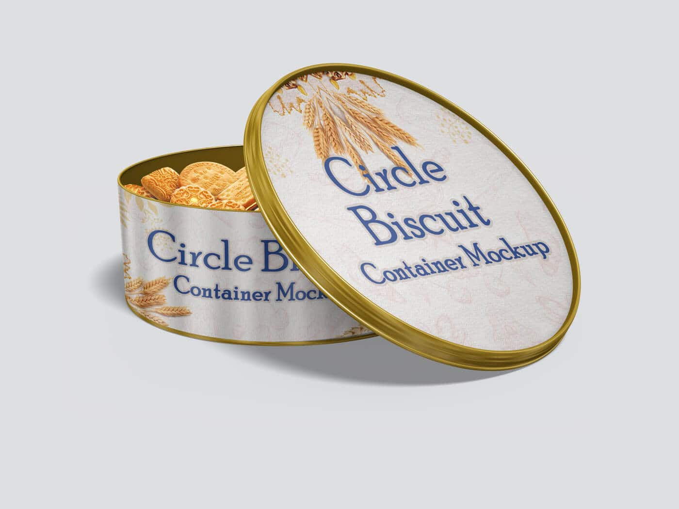 Circle Biscuit and Cookies Tin Container Mockup 02