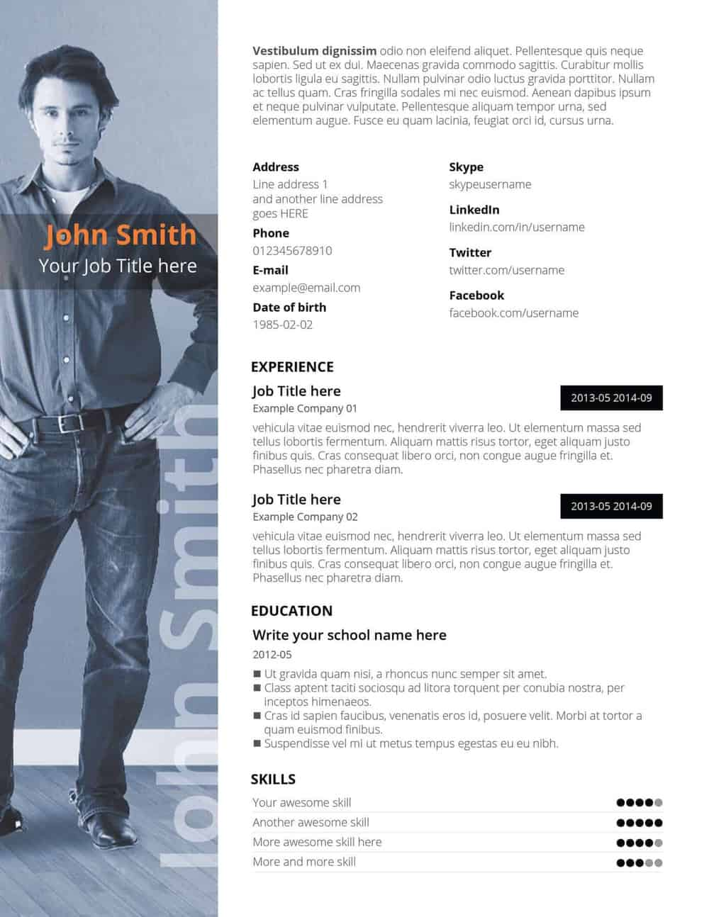 Free PSD Resume Templates