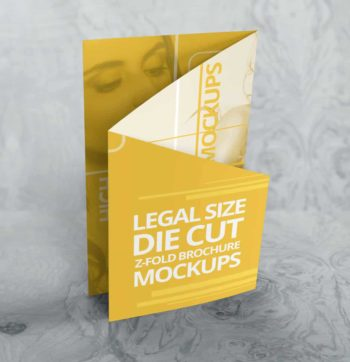 Customizable Z Fold Die Cut Brochure Mockups