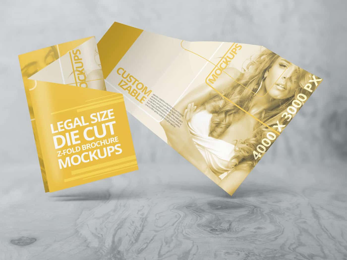 Customizable Z Fold Die Cut Brochure Mockups
