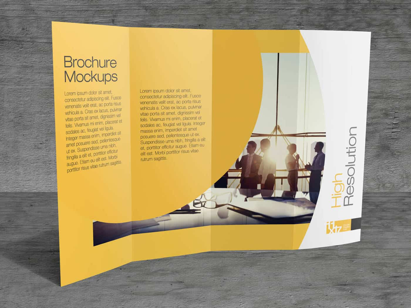 11×17 Double parallel Fold Brochure Mockups