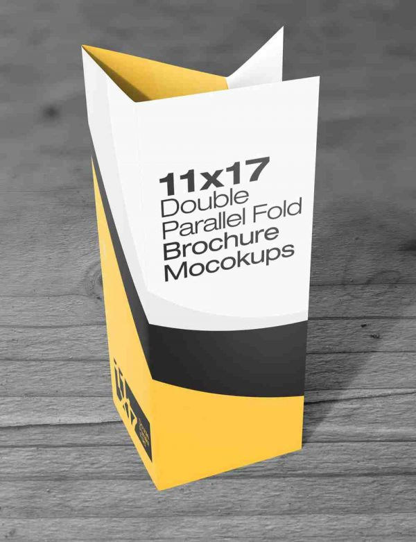 11×17 Double parallel Fold Brochure Mockups