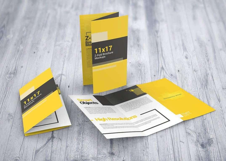11×17 Z-Fold Brochure Mockups