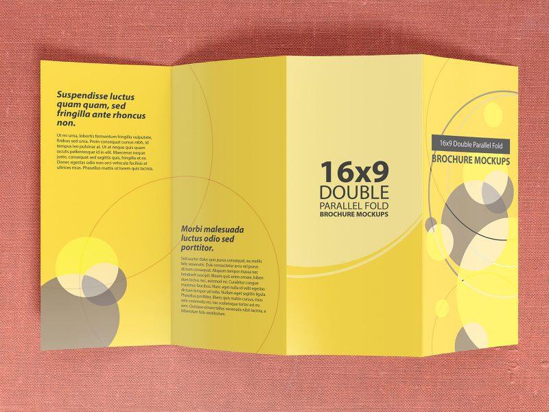 16×9 Double Parallel Fold Brochure Mockups