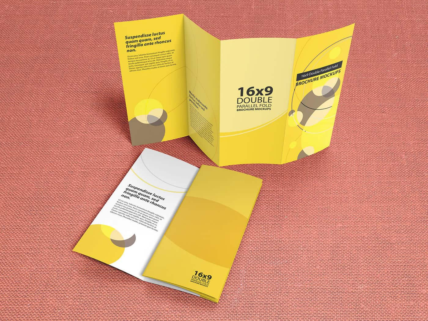 16×9 Double Parallel Fold Brochure Mockups