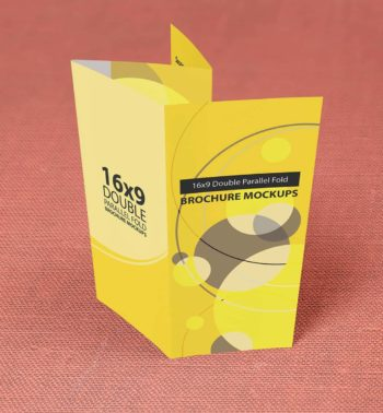 16x9 Double Parallel Fold Brochure Mockups