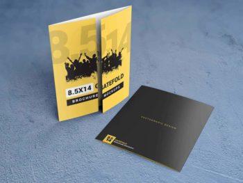 8.5x14 Gatefold Brochure Mockups