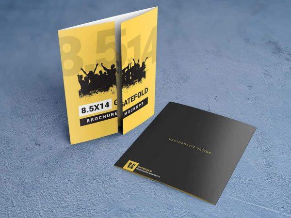 8.5×14 Gatefold Brochure Mockups