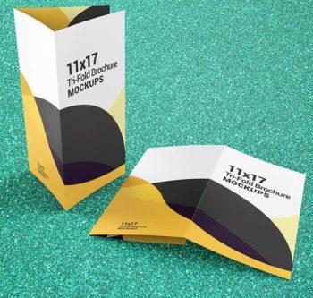 Trifold Brochure Mockups 11x17 size
