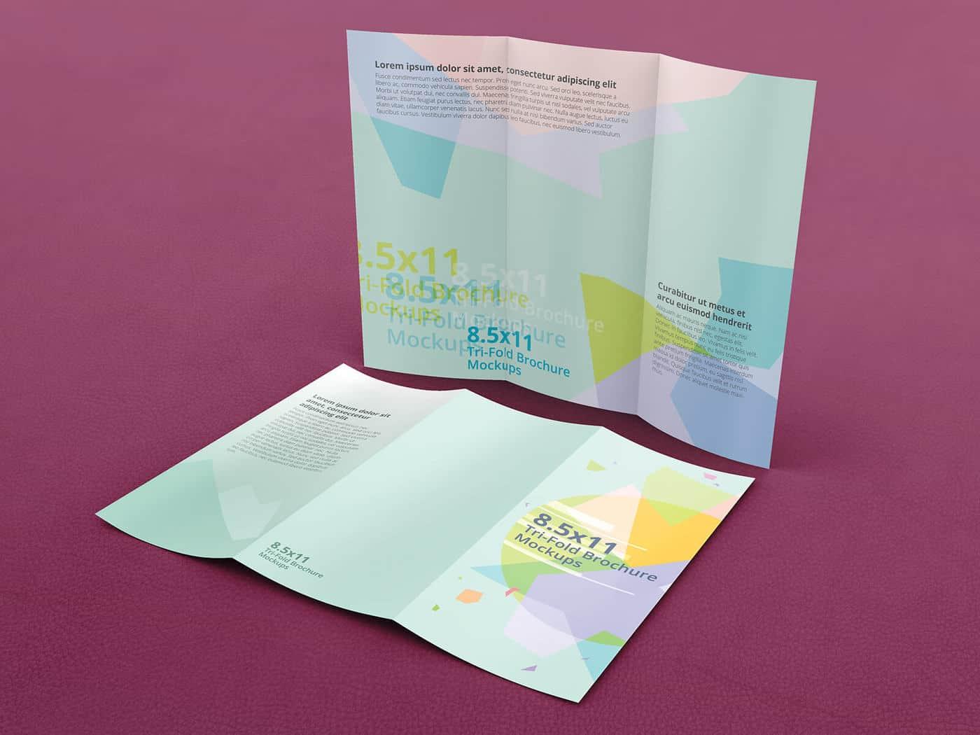 Trifold Brochure Mockups 8 5x11 size on Vectogravic Design
