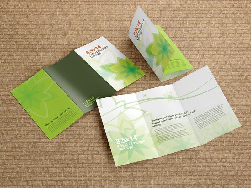 Trifold Brochure Mockups 8.5×14 size