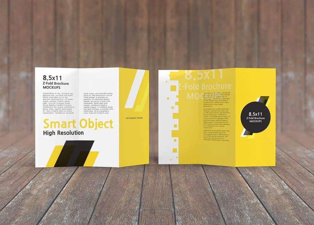 8.5×11 Z-Fold Brochure Mockups
