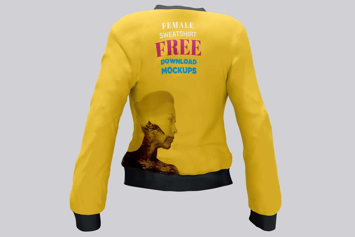 Free Female Sweatshirt Mockup 02