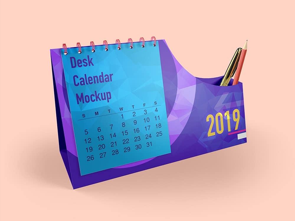 Desk Calendar With Pen Box Mockups