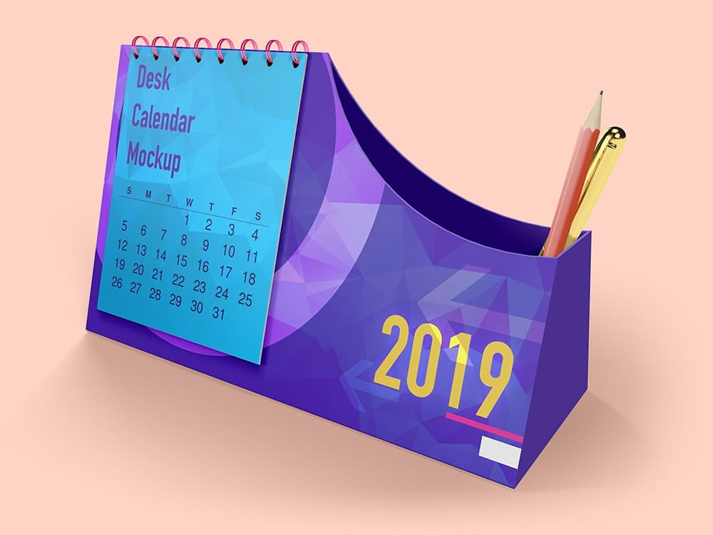 Desk Calendar With Pen Box Mockups 02