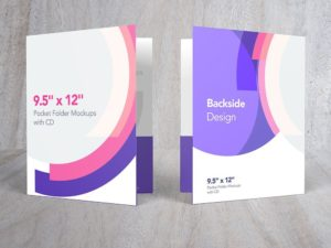 Pocket Folder Mockups with CD 9.5- x 12