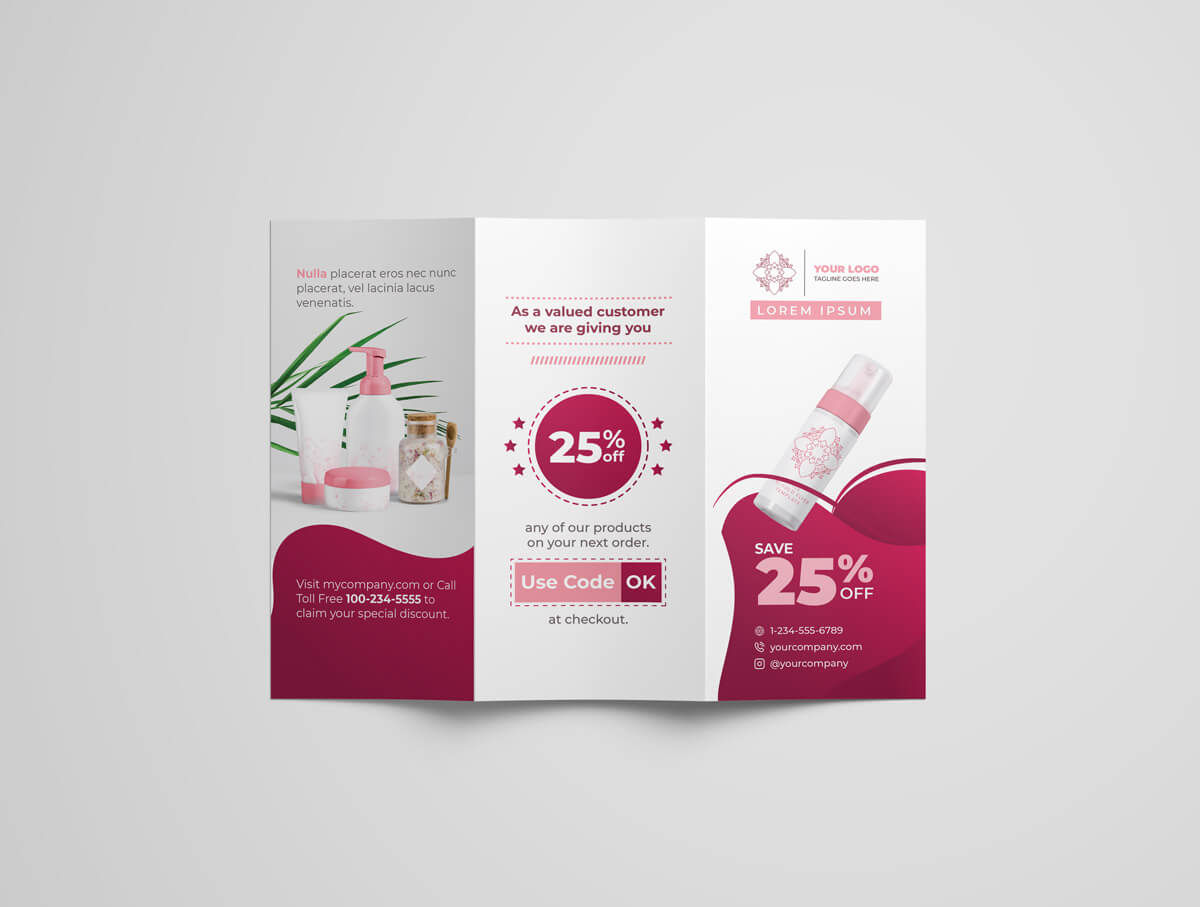 Cosmetic and Beauty Tri-Fold Template