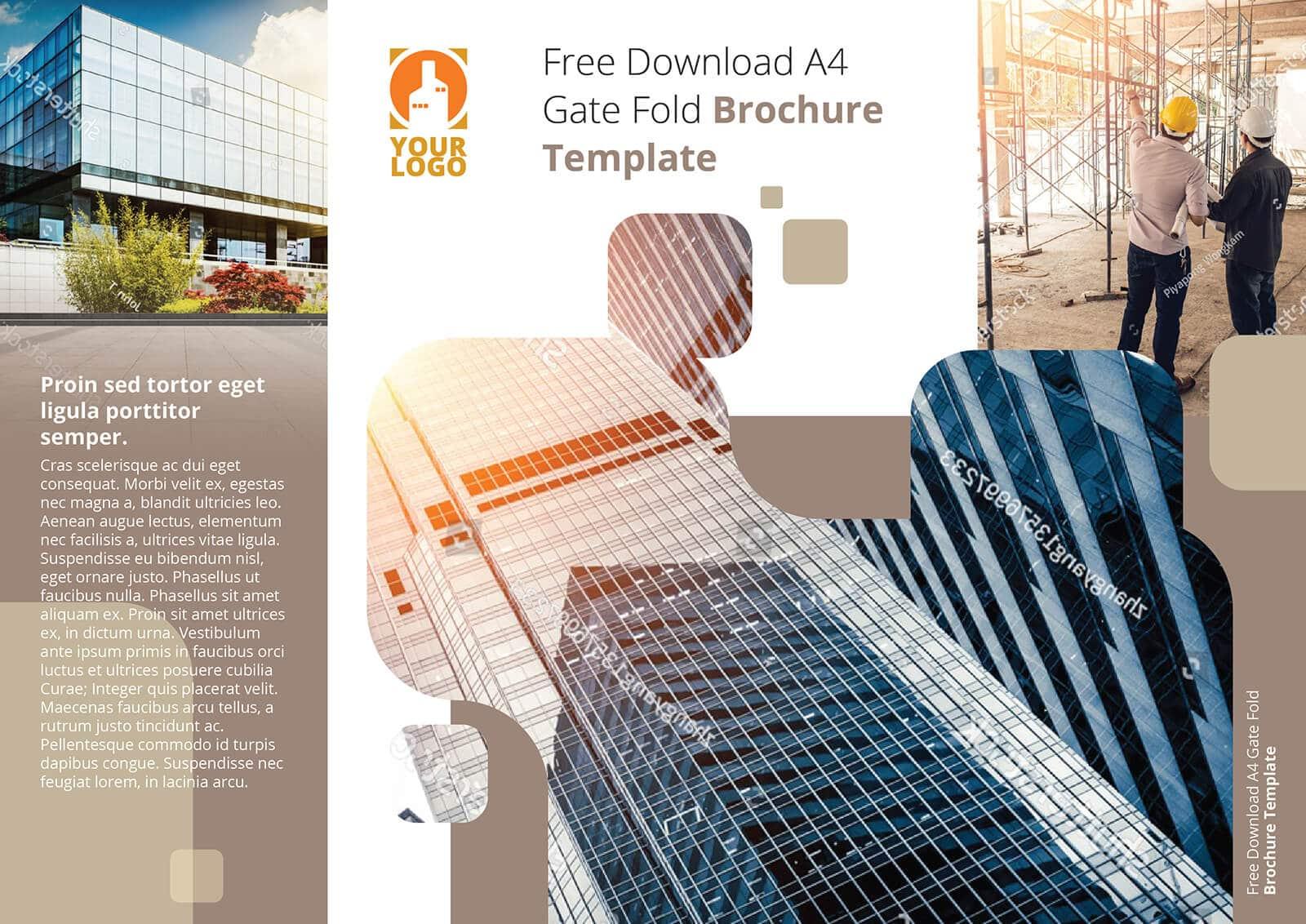 Free Download A4 Gate Fold Brochure Template Plain 01