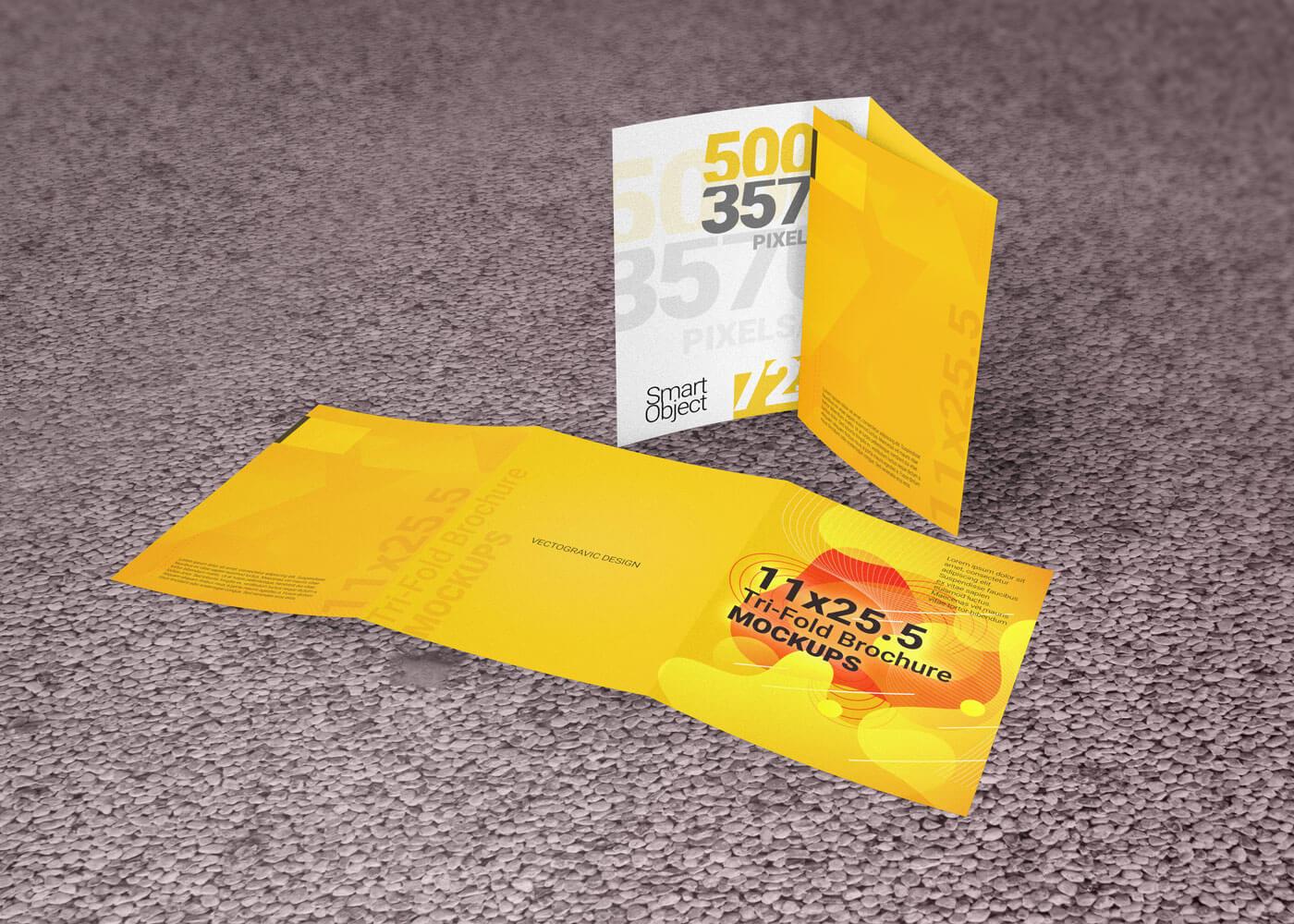 11×25.5 Tri-Fold Brochure Mockup Template