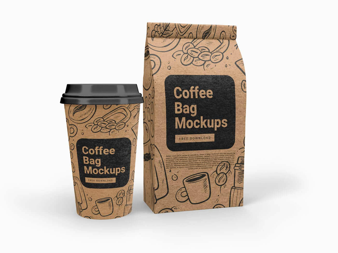 Cup and Coffee Bag Free Mockups 01