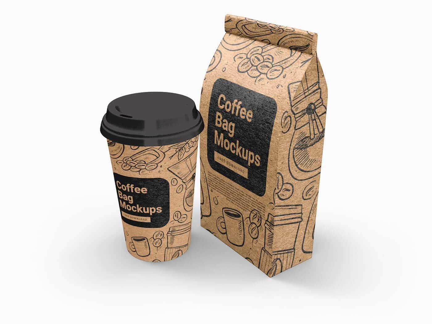 Cup and Coffee Bag Free Mockups 02