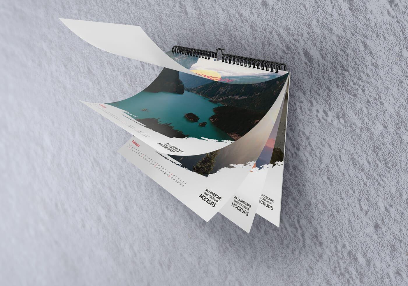 A4 Landscape Wall Calendar Mockups