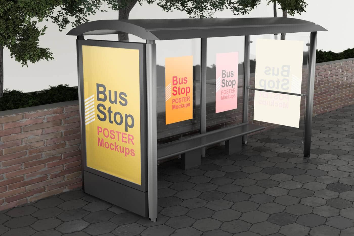 Bus Stop Poster Mockups