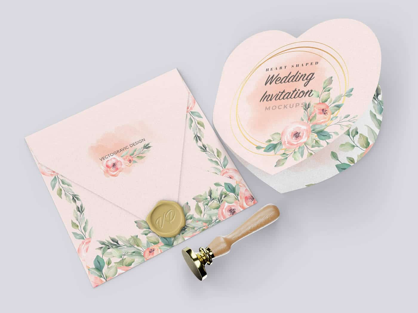 Heart Shaped Invitation Mockup 01