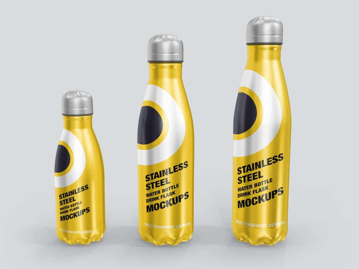 Stainless Steel Water Bottle Flask Mockups 03