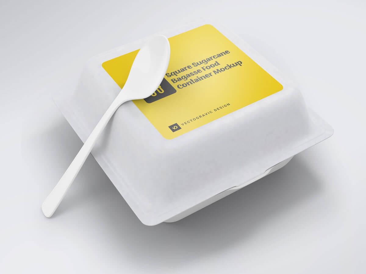 Square Sugarcane Bagasse Food Container 01