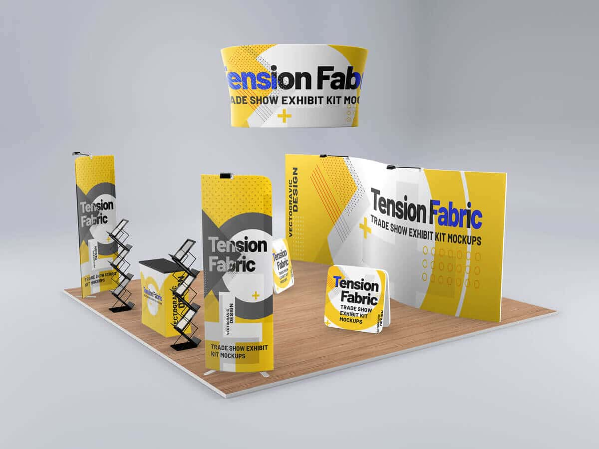 Tension Fabric Trade Show Exhibit Kit Mockups